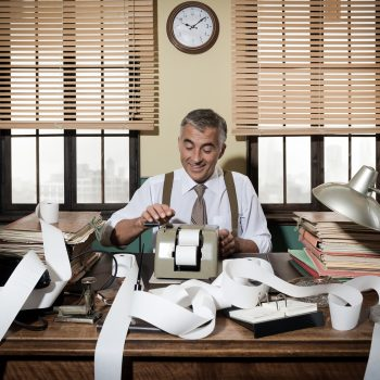 Busy Vintage Accountant With Calculator