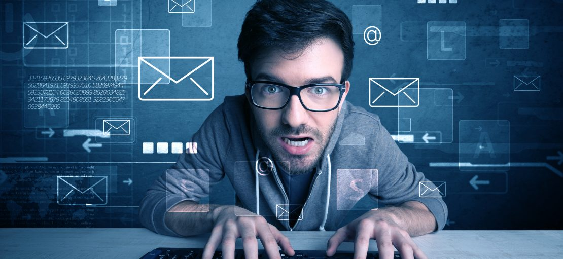 A talented young hacker hacking email address passwords concept