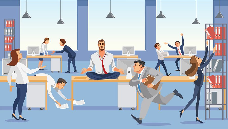 How to Avoid a Rift Between You and Your Co-Founder Business man sitting on table keep calm with meditation relax. Office workers stressing and hurry up with deadline. Fun cartoon characters. Vector illuctration of job situation in office interior.
