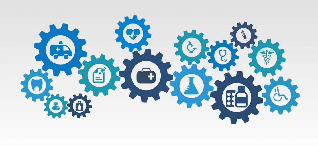 Why Employee Healthcare Isn't Just for Big Business health care vector icons shown in interlocking cogs